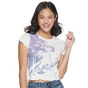 Juniors' Disney Frozen Anna Short Sleeve Crop Shirt