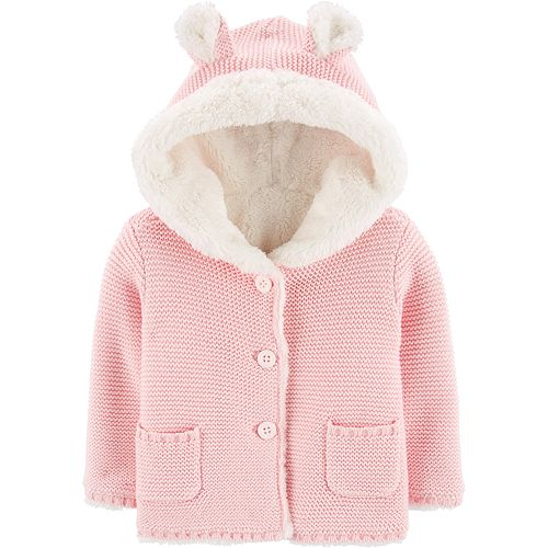 Baby Girl Carter's Sherpa-Lined Hooded Cardigan