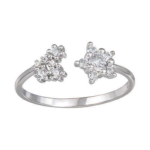 LC Lauren Conrad Sterling Silver Flower Crystal Ring