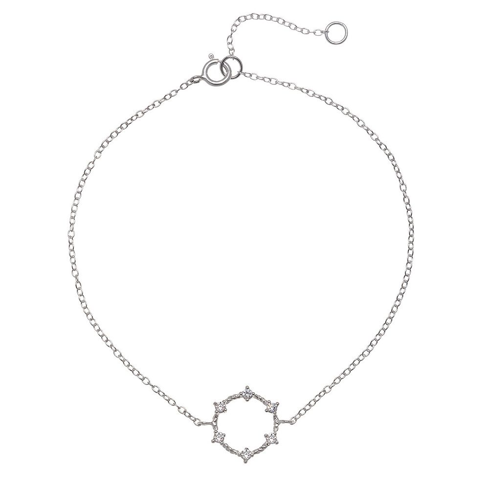 LC Lauren Conrad Sterling Silver Crystal Circle Necklace