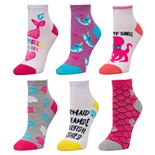 Girls 4-16 SO® 6-Pack Patterned Theme Crew Socks