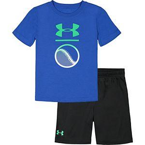 Toddler Boy Under Armour Baseball Tee & Shorts Set