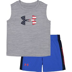 Toddler Boy Under Armour Americana Big Logo Twist Tank Top And Short Set