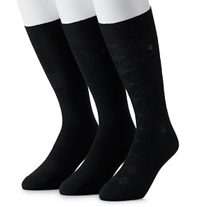Men's Chaps 3-pack Supersoft Patterned Crew Socks