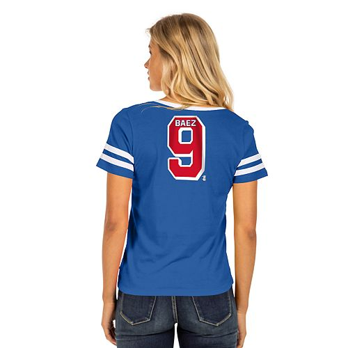 Women's Chicago Cubs Striped V-Neck Tee
