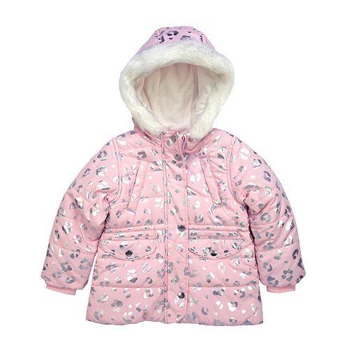 Girl's Carter's Pink Cheetah Parka Jacket