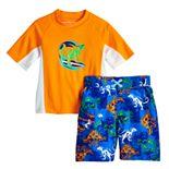 Toddler Boy ZeroXposur 2 Piece Dinosaur Surfing Rash Guard Top & Swim Trunks Set
