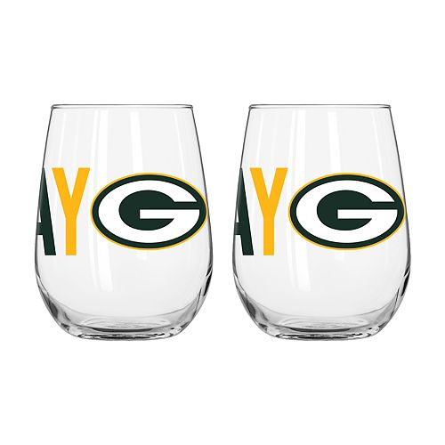 Boelter Green Bay Packers Stemless Wine Glass Set