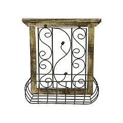Rustic Arrow Wood Window With Basket Wall Art