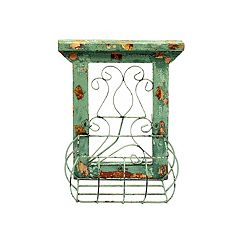 Rustic Arrow Green Wood Window With Basket Wall Art