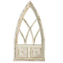 Rustic Arrow Small Cathedral White Window With Board Wall Art