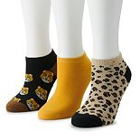 Women's SO® 3-pack No-Show Print Socks