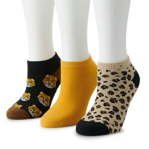 Women's SO® 3-pack No-Show Print Socks