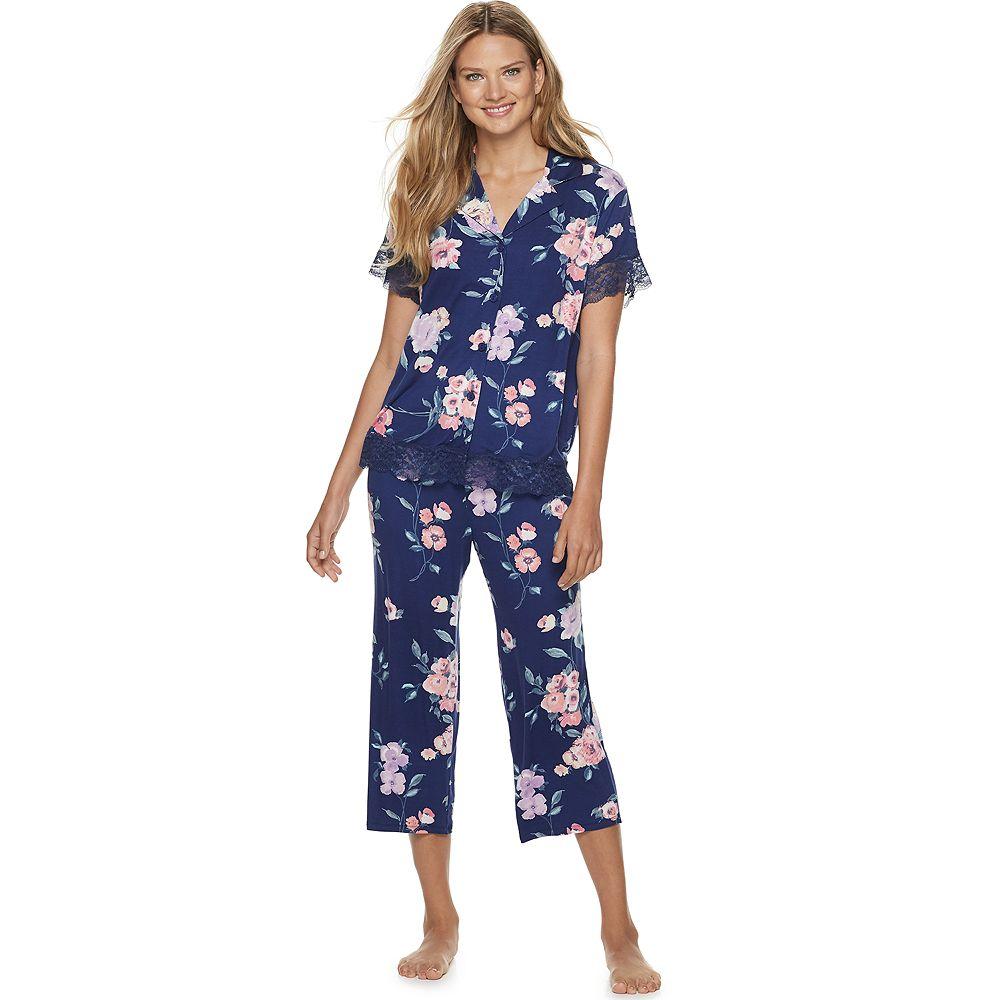 Women's Apt. 9® 2 Piece Floral Print Crop Pajama Set