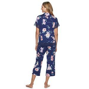 Women's Apt. 9 2 Piece Floral Print Crop Pajama Set