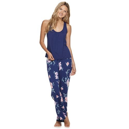 Women's Apt. 9® Solid Tank And Floral Print Long Pant