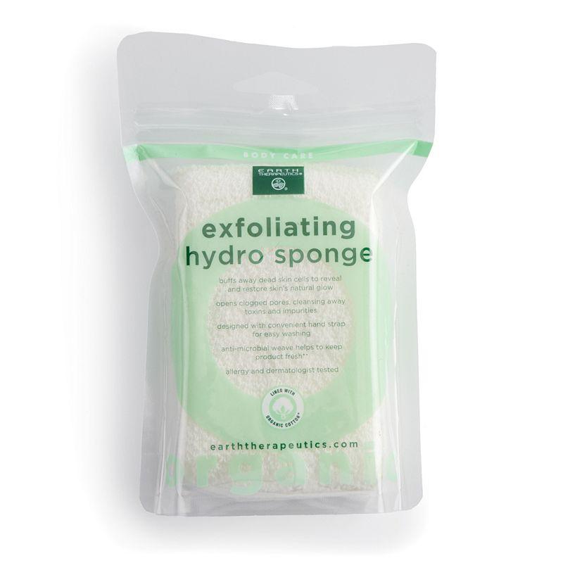 Earth Therapeutics Organic Cotton Exfoliating Hydro Sponge - Square, Beig/Green