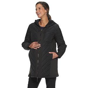 Maternity a:glow Mixed-Media Puffer Coat