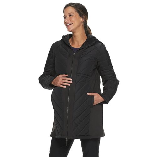 Maternity a:glow Mixed-Media Puffer Coat