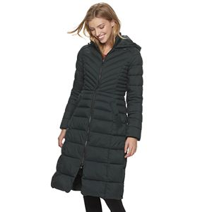 Women's B by Bernardo Ecoplume Hooded Long Puffer Coat