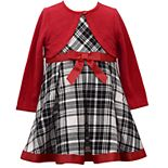 Toddler Girl Bonnie Jean Plaid Dress with Matching Knit Bolero Cardigan