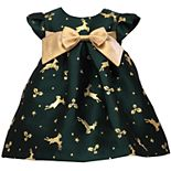 Toddler Girl Bonnie Jean Short Sleeved Reindeer Trapeze Dress with Pleated Front and Bow