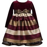 Toddler Girl Bonnie Jean Long Sleeve Velvet and Taffeta Stripe Empire Dress with Bow