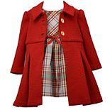 Toddler Girl Bonnie Jean Sleeveless Taffeta Plaid Dress with Velvet Ribbon Trim and Textured Knit Coat