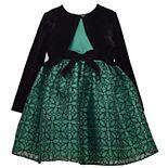 Toddler Girl Bonnie Jean Sparkle Mesh Waistline Dress with separate Stretch Velvet Cardigan