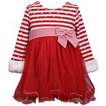 Toddler Girl Bonnie Jean Long Sleeve Stripe Knit Dress with Faux Fur Cuffs