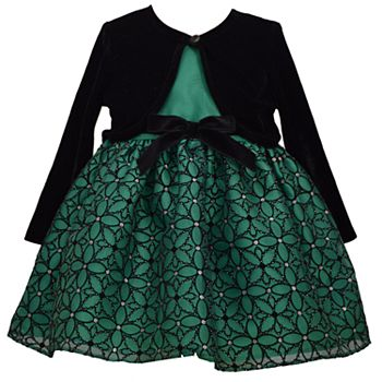 Youngland Baby Girls Velvet /& Lace Dress with Sparkle Waistband Special Occasion