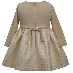 Toddler Girl Bonnie Jean Long Sleeve Metallic Sweater Knit Dress with Ribbon Band and Bow