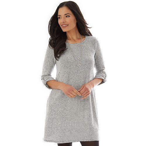 Petite Apt. 9® Print Shift Sweater Dress