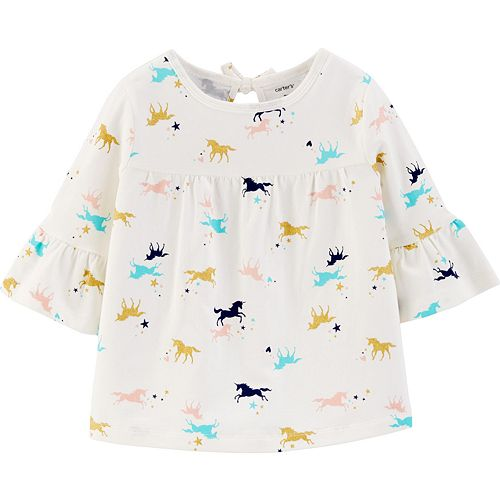 Toddler Girl Carter's Print Bell Sleeve Top