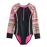 Girls 7-16 SO® Global Patchwork Front-Zip Rashguard
