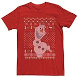 Men's Frozen Olaf Ugly Christmas Sweater Short Sleeve Tee