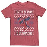 Men's Marvel Spider-Man Season To Be Amazing Ugly Sweater Tee