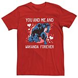 Men's Marvel Black Panther You & Me & Wakanda Forever Valentine Tee