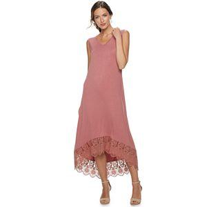 Women's Nina Leonard Crochet-Hem Midi Dress