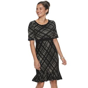 Women's Nina Leonard Plaid Flounce-Hem Dress