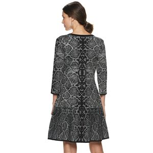 Women's Nina Leonard Snakeskin-Print Sweater Dress