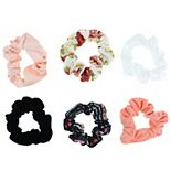 SO® Juniors' 6 Pack Plaid And Floral Scrunchie Set