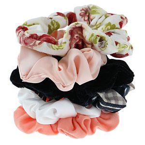 SO Juniors' 6 Pack Plaid And Floral Scrunchie Set