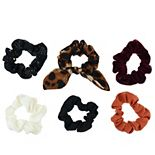 SO® Juniors' 6 Pack Stars And Leopard Scrunchies Set
