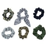 SO® Juniors' 6 Pack Camouflage and Stars Scrunchies Set