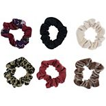 SO® Juniors' 6 Pack Leopard And Floral Scrunchies Set
