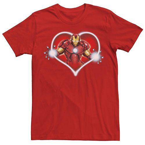 Men's Marvel Iron Man Arc Reactor Heart Portrait Tee