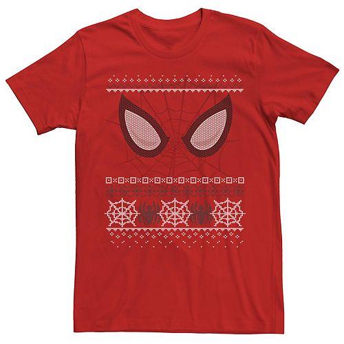 Men's Marvel Spider-Man Web Eyes Ugly Christmas Sweater Tee