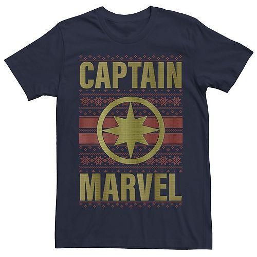Men's Captain Marvel Symbol Christmas Short Sleeve Tee