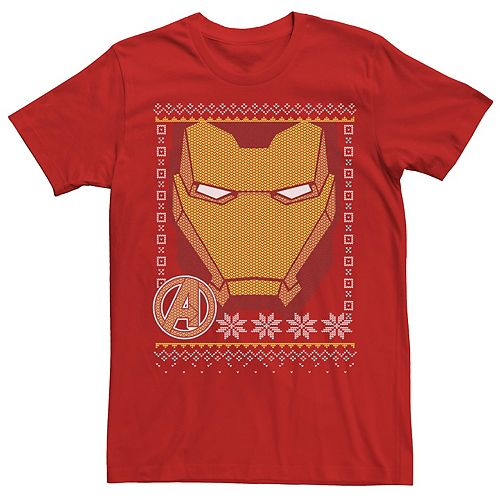 Men's Marvel Iron Man Mask Avengers Symbol Christmas Sweater Tee